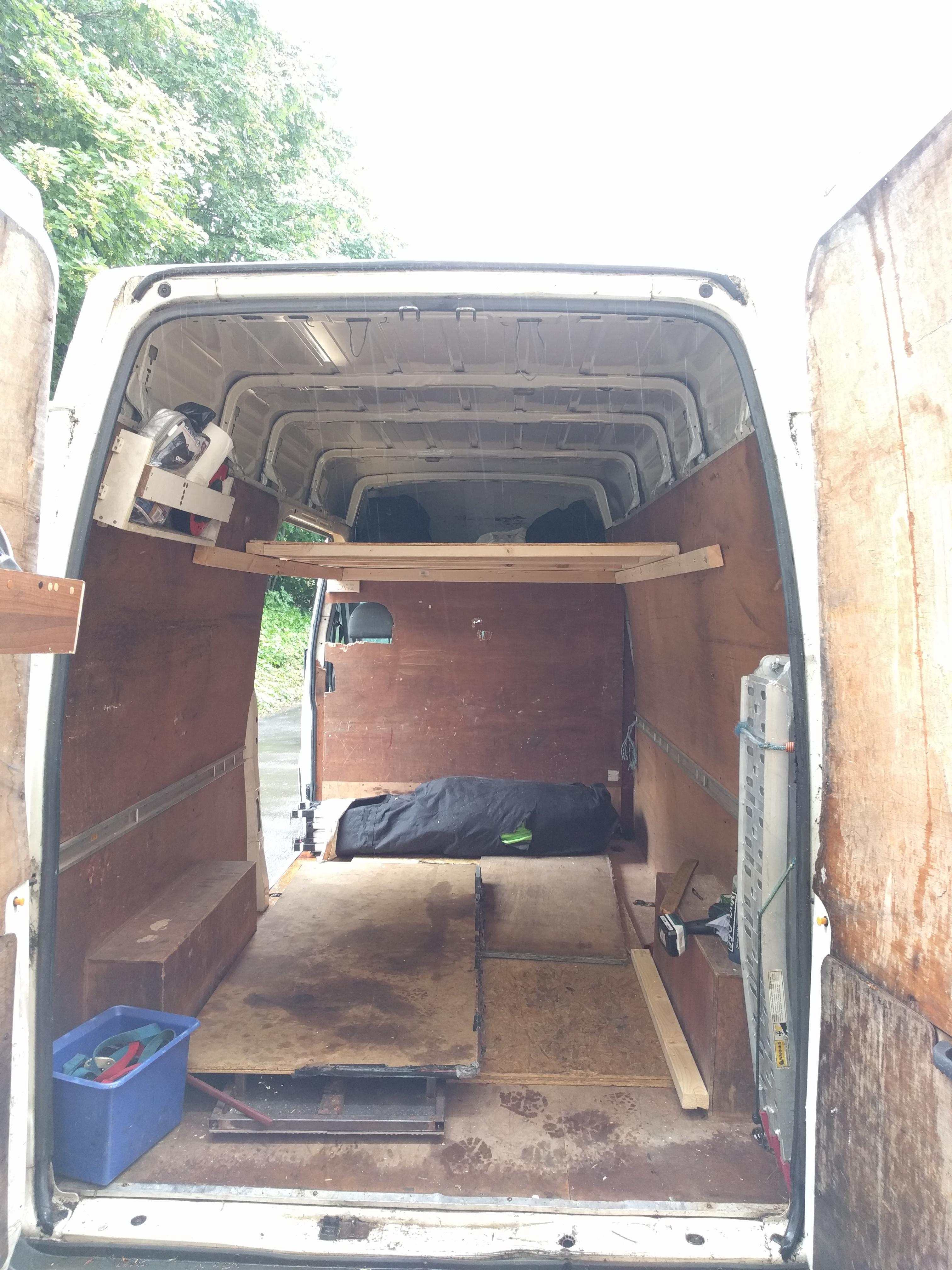 Van with a mezzanine